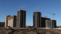 RUSSIA.MOSCOW-2012: General view of the construction of a large residential Stock Footage