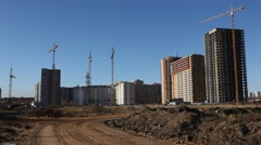 RUSSIA.MOSCOW-2012: General view of construction of residential buildings Stock Footage
