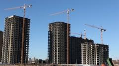 RUSSIA.MOSCOW-2012: Close up view of the  construction of a large residential Stock Footage