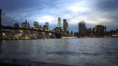 Grainy cinematic view of Manhatten - stock footage