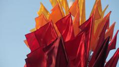 Colored Flags In The Wind Stock Footage