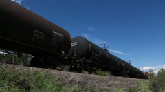 Train of oil tanker railway cars Stock Footage