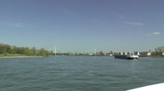 The city of COLOGNE SEEN FROM THE RIVER RHINE Stock Footage