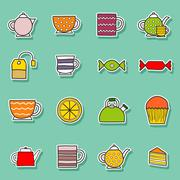 Set of hand drawn teatime stickers Stock Illustration