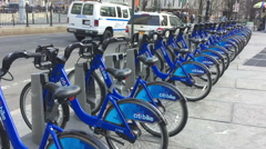 City bikes for rent in NY Stock Footage