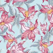 Tropical Seamless Background with Exotic Flowers Stock Illustration