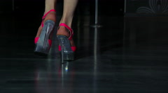 Sexual woman legs on fashionable red shoes go slowly. 4K 3840x2160 Stock Footage
