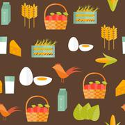 Stock Illustration of Seamless background with flat objects on farm products theme