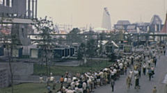 Expo 1967 in Montreal: view from the train arriving at the fair Stock Footage
