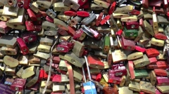 Love lockes clipped on the HOHENZOLLERNBRUCKE Stock Footage