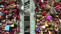 Love locks clipped on the HOHENZOLLERNBRUCKE - stock footage