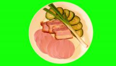 4k pieces – boiled sausage, pork bacon, cucumber, spring onion on plate Stock Footage