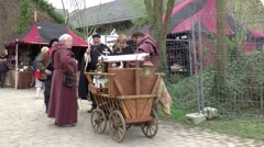 A liquor seller in  Middle Ages style Stock Footage