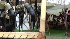 Cow horns ar selled on a fair in  Middle Ages style Stock Footage