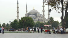 Sultan Ahmed (Blue) Mosque, Istanbul, Turkey Tourists Plaza - 4K 0592 Stock Footage