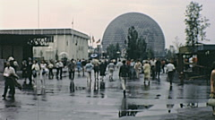 Expo 1967 in Montreal: people walking to the American pavilion Stock Footage