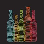 Isolated abstract spiral wine bottles Stock Illustration