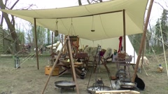 Sales stall at A fair in  Middle Ages style Stock Footage