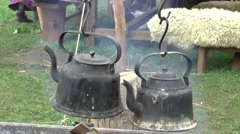 Coocking at A fair in  Middle Ages style Stock Footage