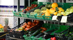 Fruit on display outside shop selling fruit and vegetables. Stock Footage