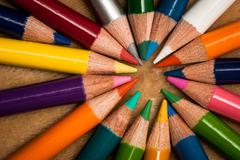 Colorful wooden pencils - stock photo