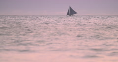 Peaceful seascape with sail boat cruise at evening Stock Footage