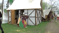 Sales stalls at A fair in  Middle Ages style Stock Footage