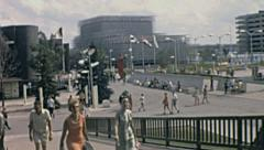 Expo 1967 in Montreal: people walking inside the Fair Stock Footage