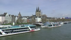 View at Cologne from the other side of the River Rhine Stock Footage