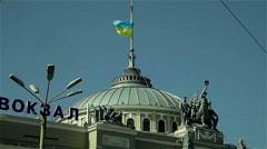 Railway Station Building, Odessa, with Ukrainian Flag Stock Footage