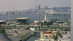 Expo 1967 in Montreal: view of the Fair with cityscape in the background Stock Footage