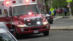 EMS ambulance DC, approach and passes - stock footage