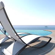 Sun loungers inviting to relaxation and rest. - stock illustration