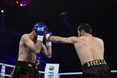Ranking boxing fight in Palace of sport, Kiev Stock Photos