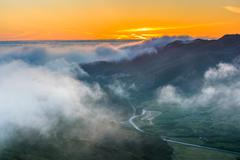 Sunset view of fog over the Marin Headlands from Hawk Hill, Golden Gate Natio Stock Photos