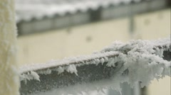 Clothespins on frost - stock footage