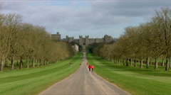 Windsor Castle filmed from Long Walk 02. 4K Stock Footage