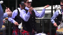 Stock Video Footage of Scottish drummer woman in bagpipe band
