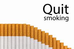 Quit smoking text with a graph of cigarettes, black text. - stock photo
