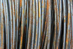 Closeup of old rusty metal wires, abstract textural image Stock Photos
