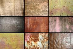 Collection of rusty metallic surfaces put in one image Stock Photos