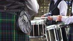 Scottish, drummers preparing Stock Footage