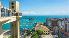 Timelapse View of Lacerda Elevator and All Saints Bay in Salvador, Bahia, Brazil Stock Footage