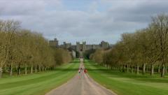 Windsor Castle filmed from The Long Walk 03. 4K Stock Footage
