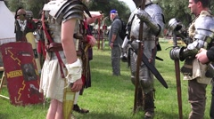 Scottish, roll playing actors, war armor Stock Footage