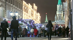 Nikolskaya Street  and Red Square at Christmas Stock Footage