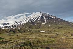 Kamchatka mountain landscape on cloudy day: Oval Zimina Volcano - stock photo