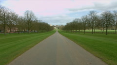 Windsor Castle filmed from The Long Walk 04. 4K Stock Footage
