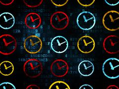 Stock Illustration of Time concept: Clock icons on Digital background