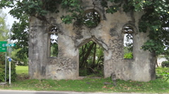 Spanish Ruins with Leaves in GUAM, USA Stock Footage